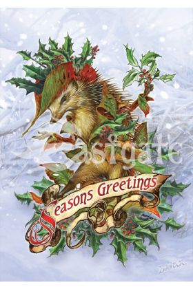 Mr Hedgely's Yuletide Coat Card (BY27)